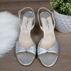 Jimmy Choo Sling Back Heels Metallic Silver Sandal